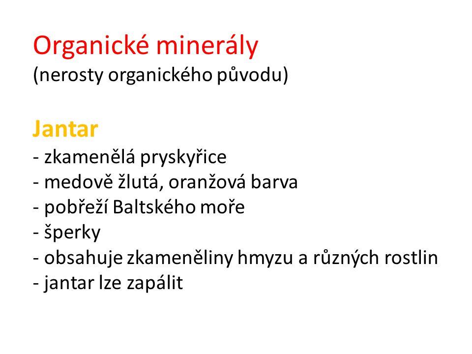 Organické minerály Jantar (nerosty organického původu)