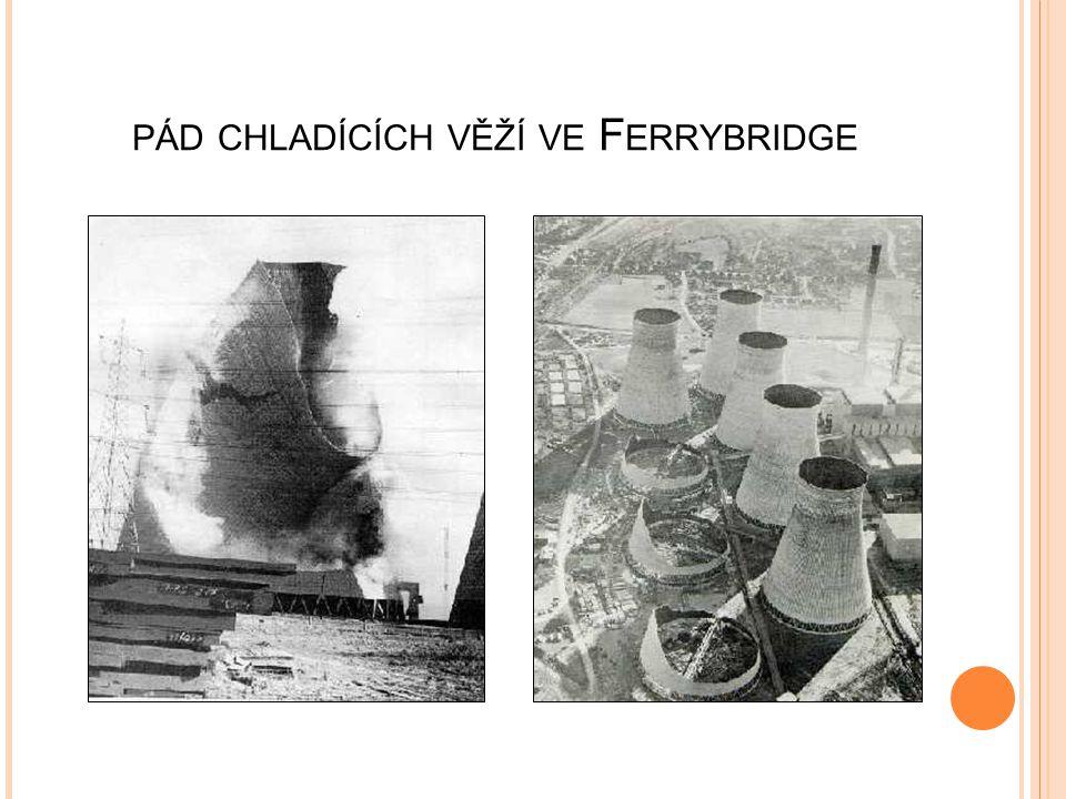 pád chladících věží ve Ferrybridge