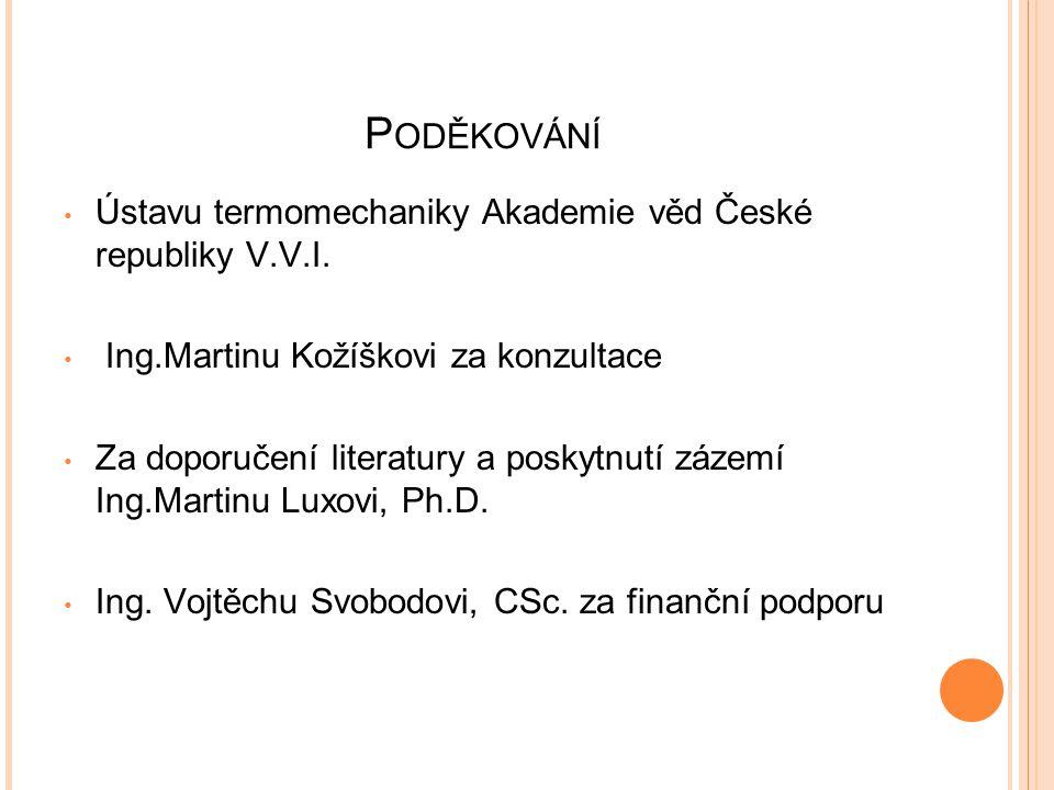 Poděkování Ústavu termomechaniky Akademie věd České republiky V.V.I.