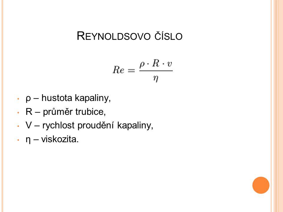 Reynoldsovo číslo ρ – hustota kapaliny, R – průměr trubice,