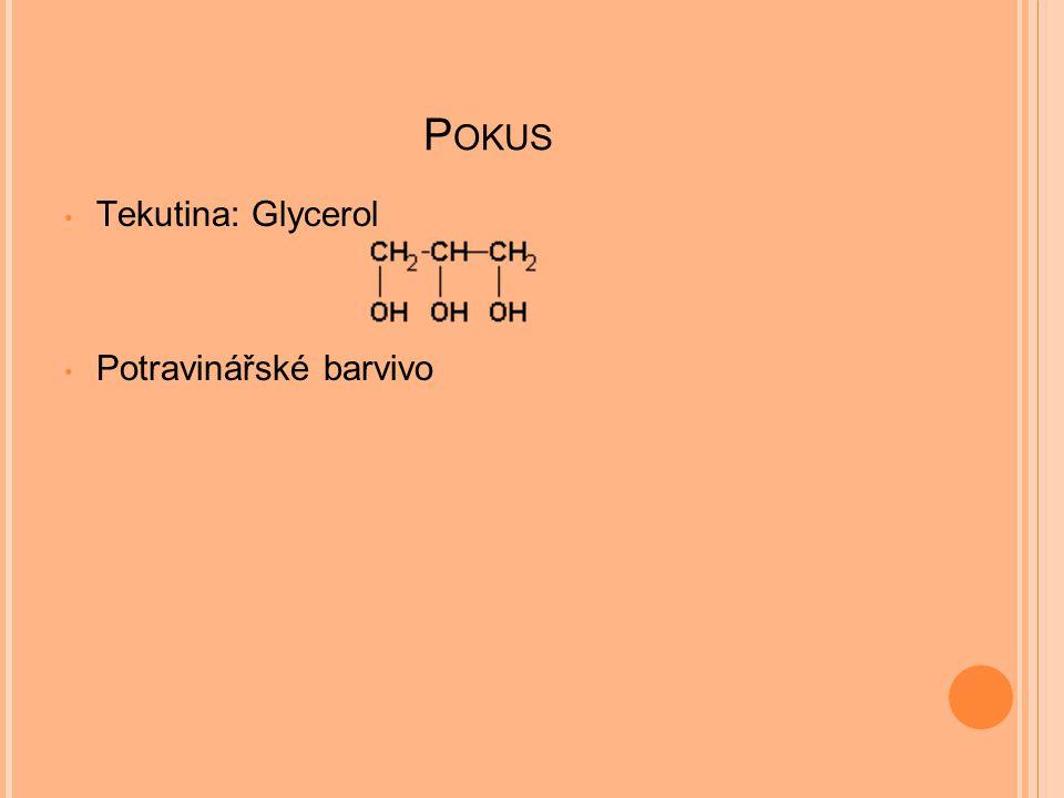 Pokus Tekutina: Glycerol Potravinářské barvivo