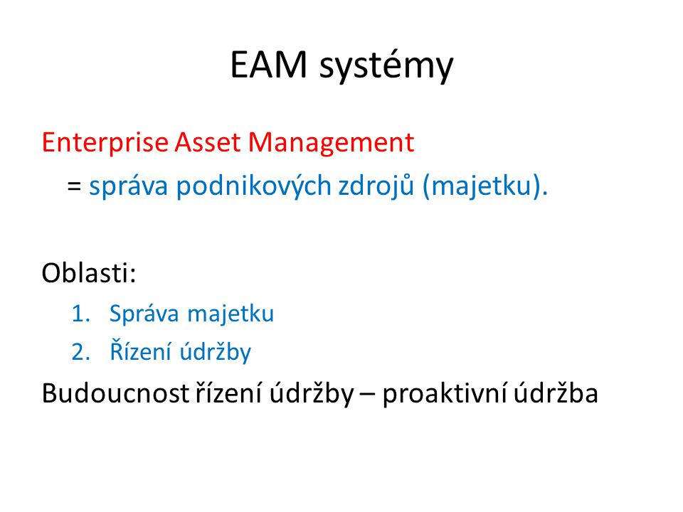 EAM systémy Enterprise Asset Management