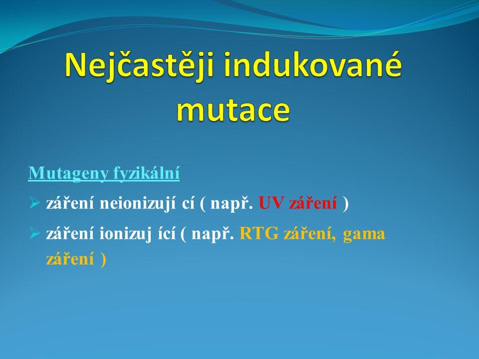 Nejčastěji indukované mutace