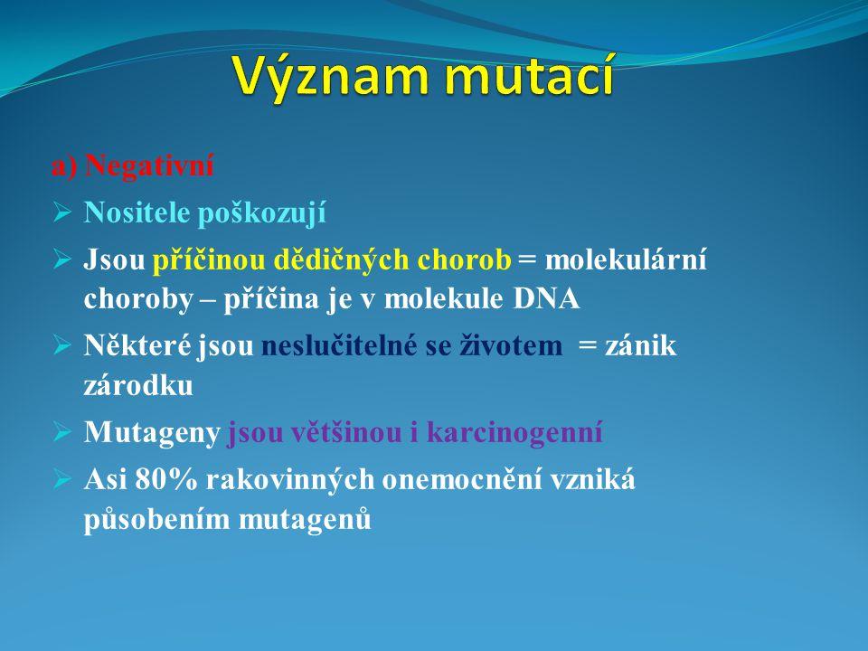 Význam mutací a) Negativní Nositele poškozují