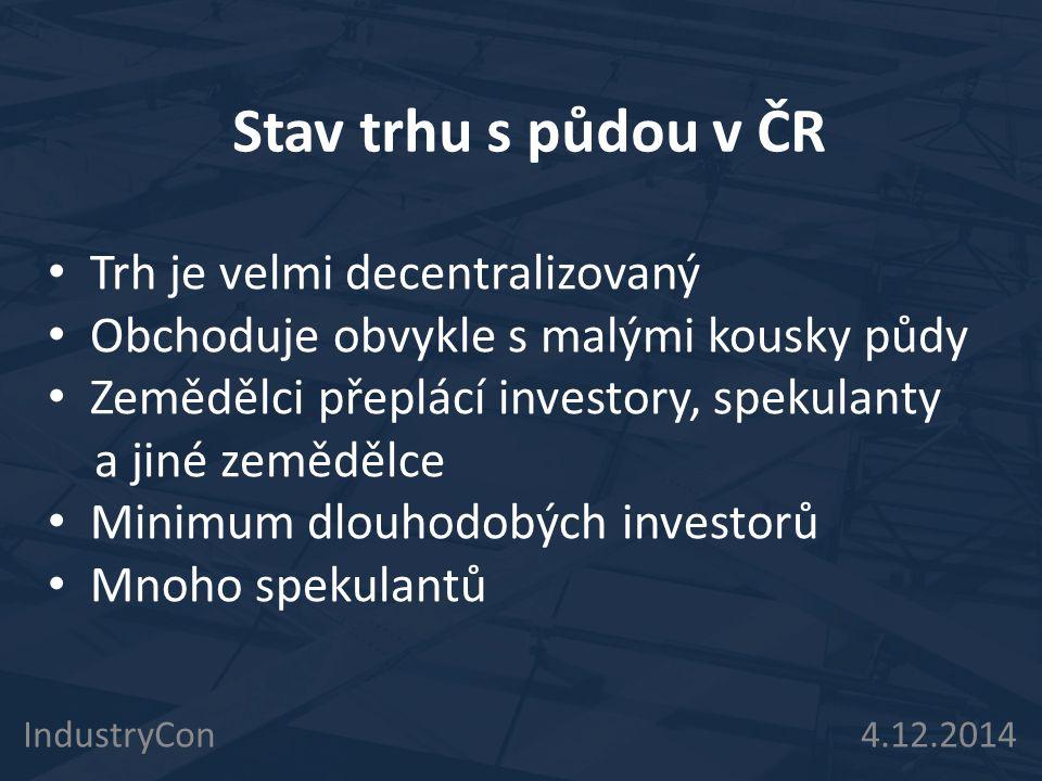Stav trhu s půdou v ČR Trh je velmi decentralizovaný