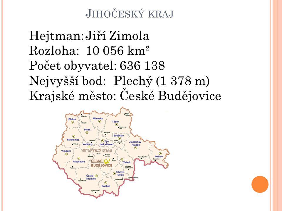 Nejvyšší bod: Plechý (1 378 m) Krajské město: České Budějovice