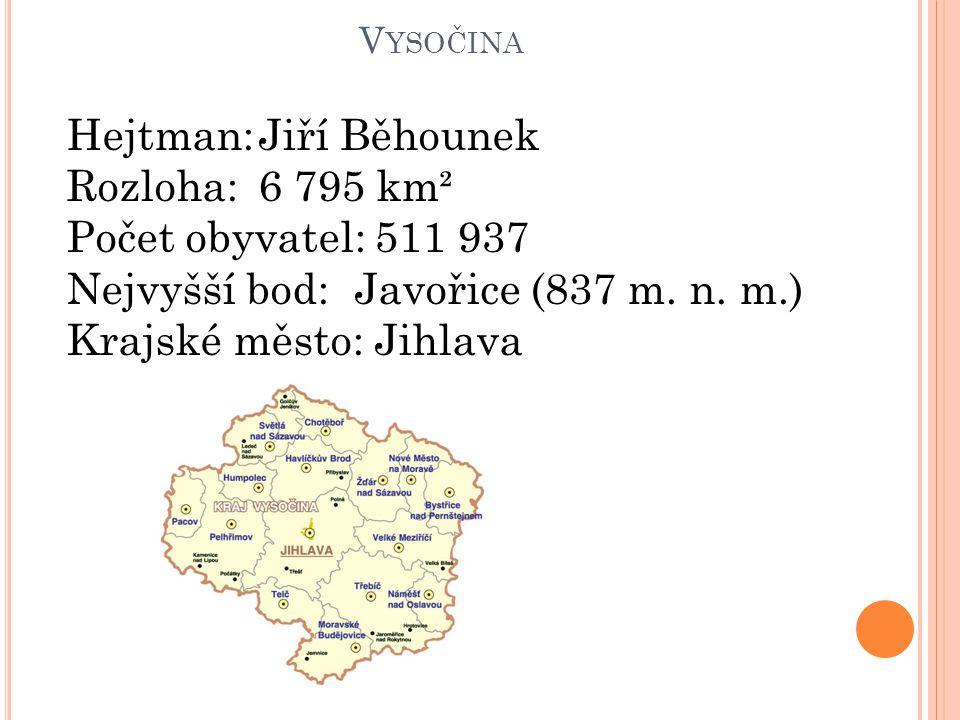 Hejtman: Jiří Běhounek Rozloha: 6 795 km² Počet obyvatel: 511 937