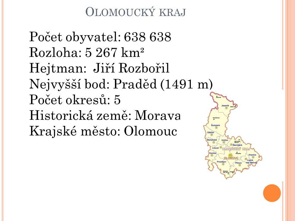 Hejtman: Jiří Rozbořil Nejvyšší bod: Praděd (1491 m) Počet okresů: 5