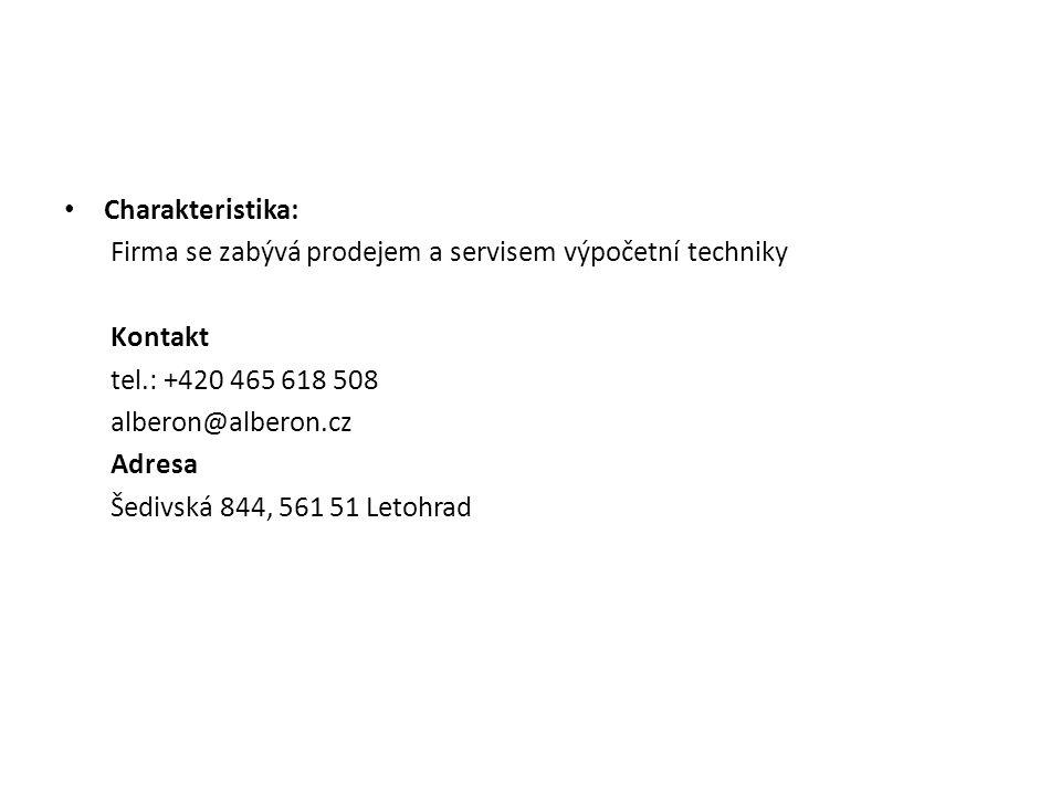 Charakteristika: Firma se zabývá prodejem a servisem výpočetní techniky. Kontakt. tel.: +420 465 618 508.