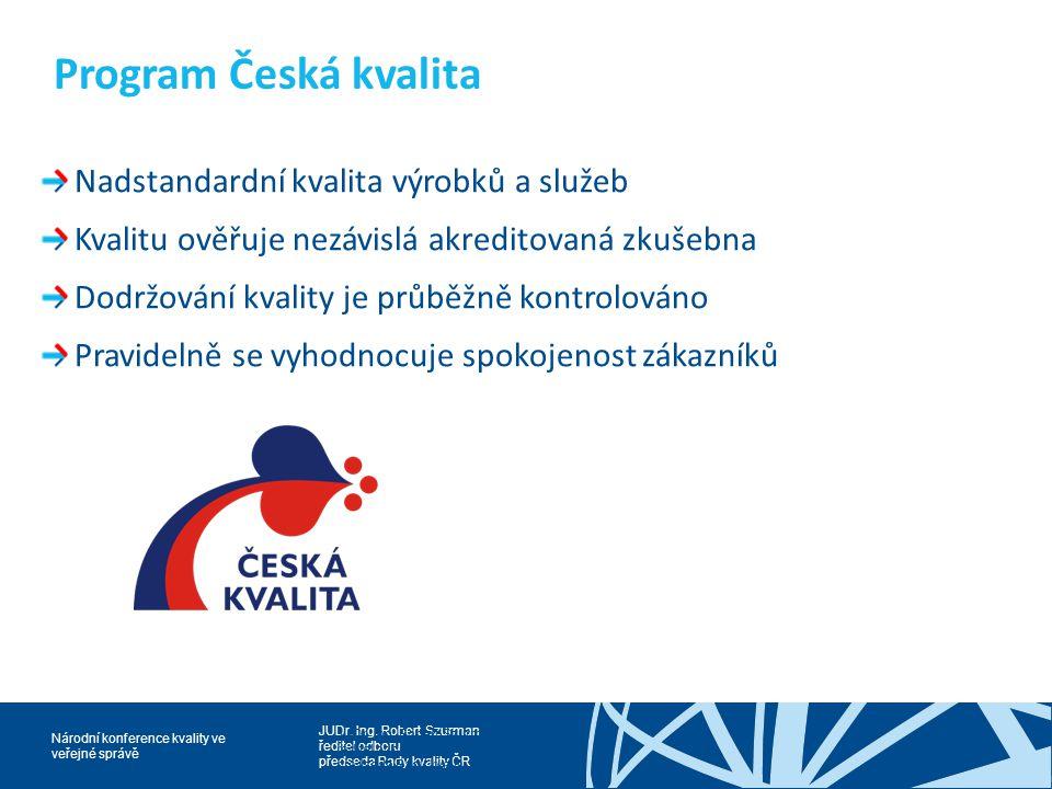 Program Česká kvalita Nadstandardní kvalita výrobků a služeb