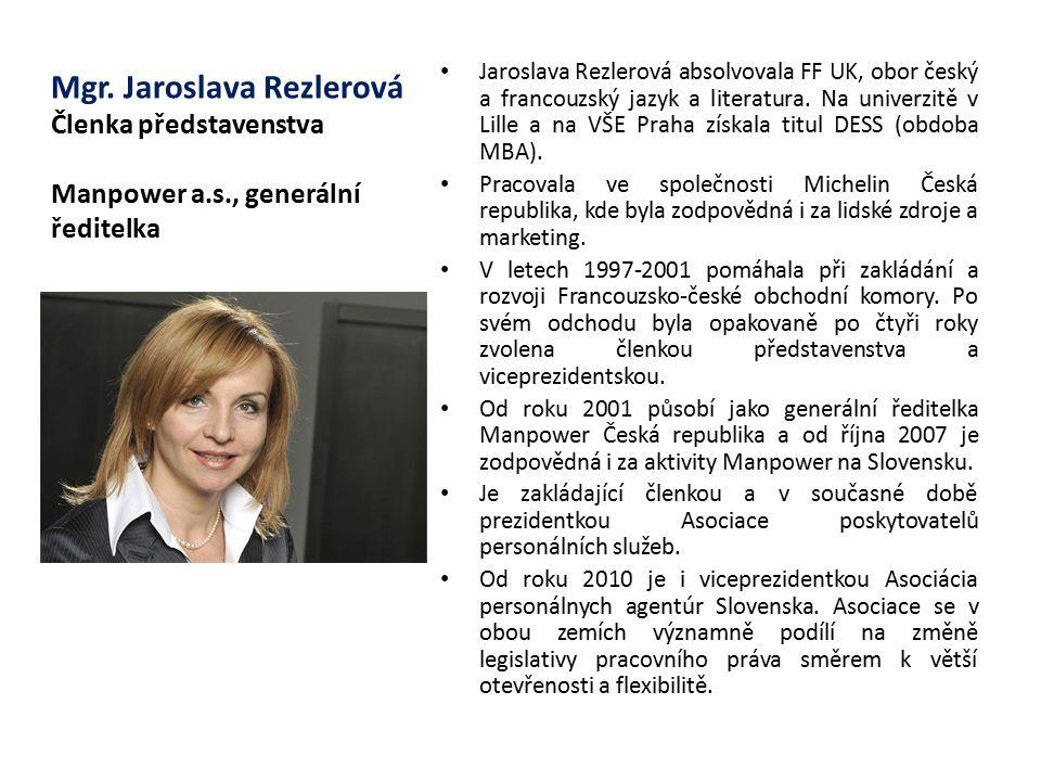 Mgr. Jaroslava Rezlerová Členka představenstva Manpower a. s