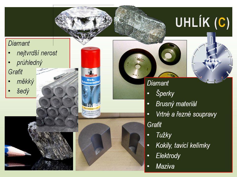 UHLÍK (C) Diamant nejtvrdší nerost průhledný Grafit měkký šedý Diamant