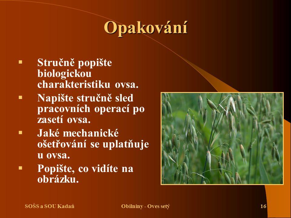 Opakování Stručně popište biologickou charakteristiku ovsa.