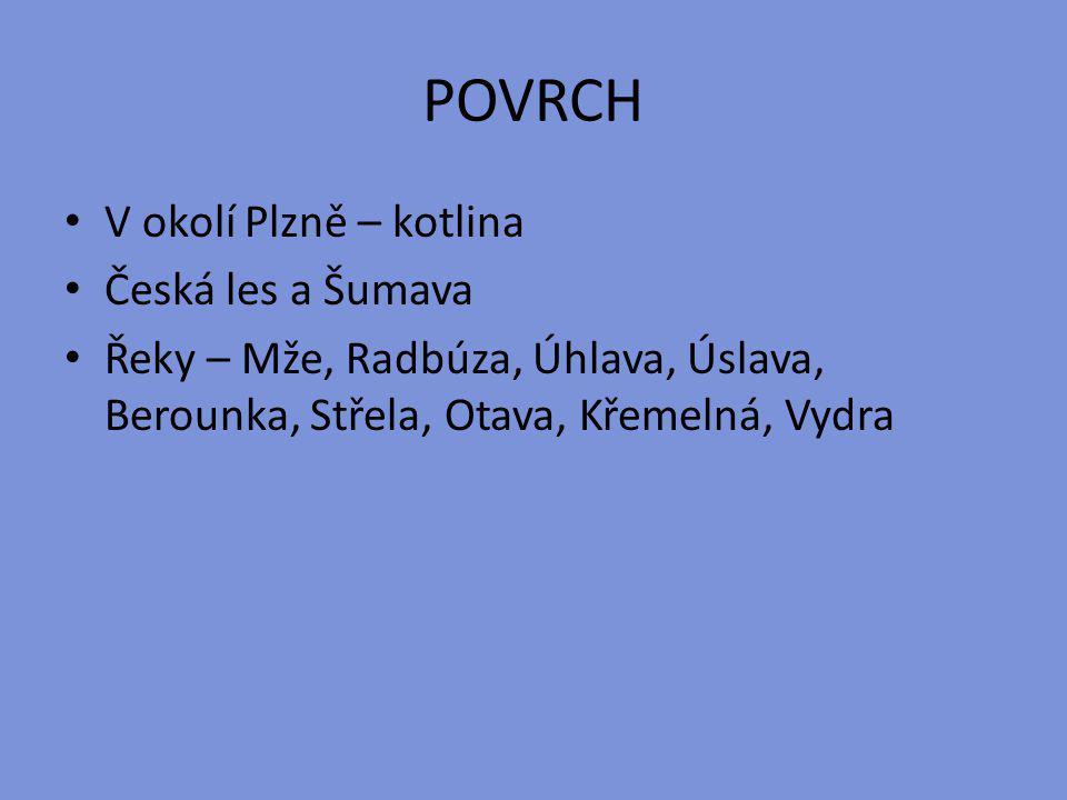 POVRCH V okolí Plzně – kotlina Česká les a Šumava