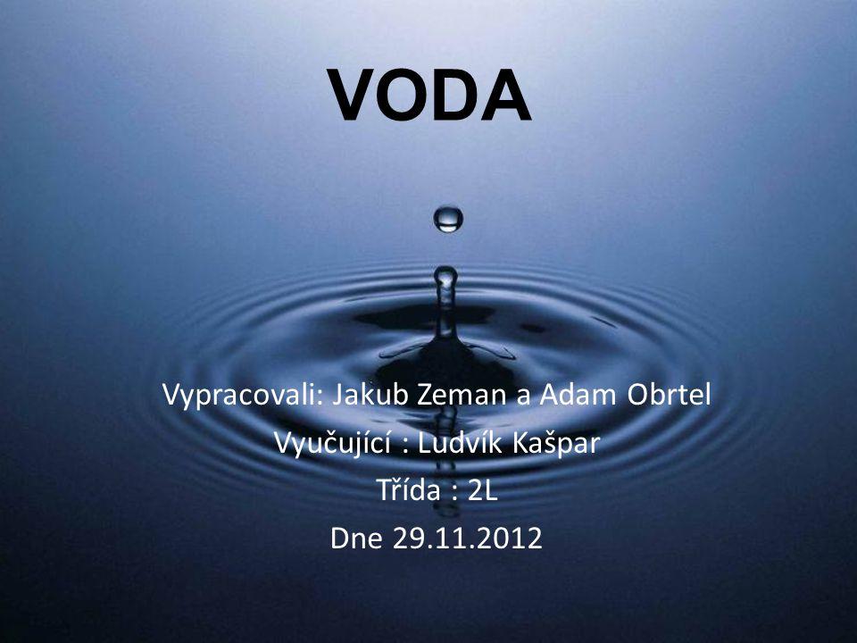 VODA Vypracovali: Jakub Zeman a Adam Obrtel Vyučující : Ludvík Kašpar
