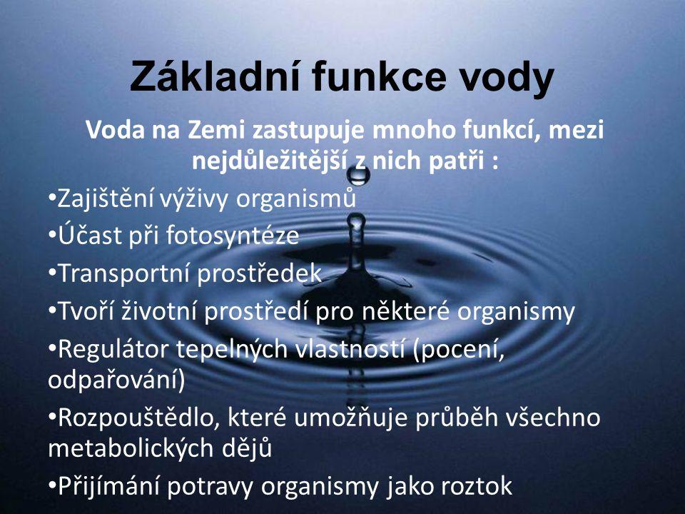 Základní funkce vody Voda na Zemi zastupuje mnoho funkcí, mezi nejdůležitější z nich patři : Zajištění výživy organismů.