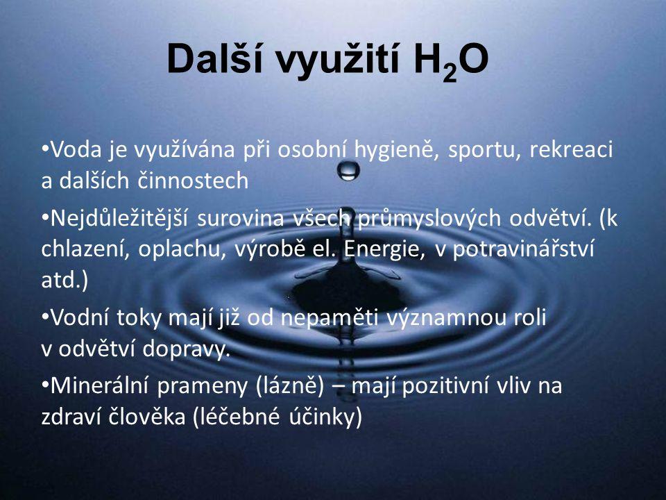 Další využití H2O Voda je využívána při osobní hygieně, sportu, rekreaci a dalších činnostech.