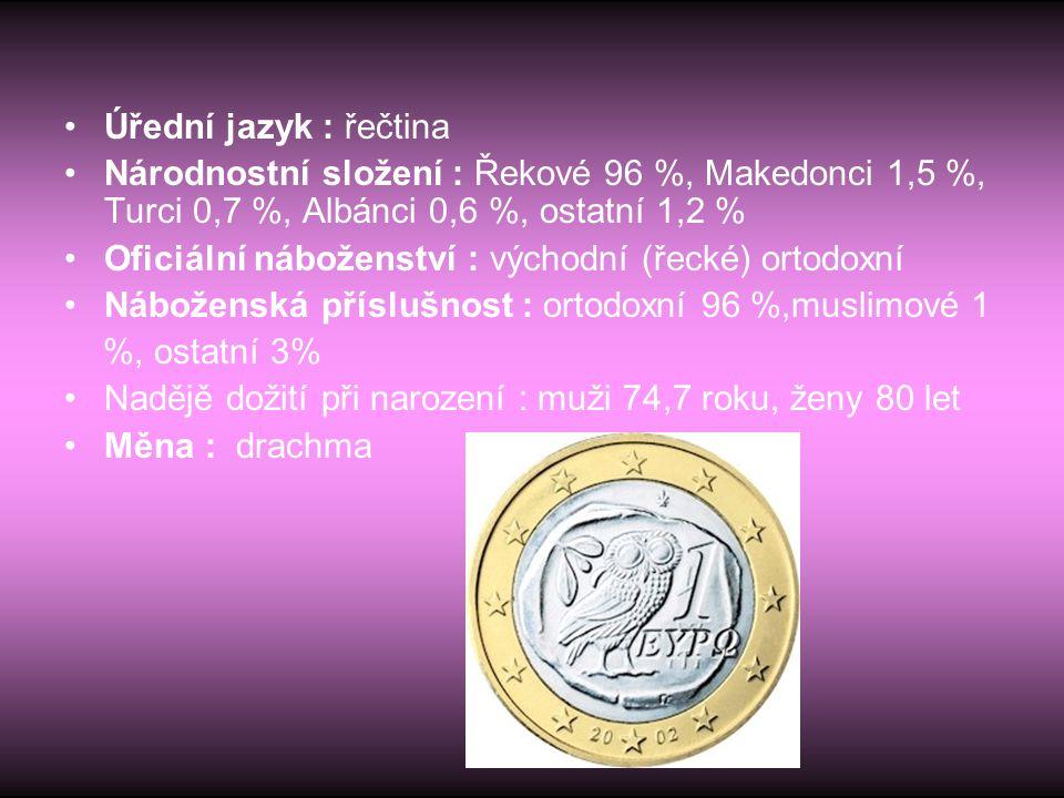 Úřední jazyk : řečtina Národnostní složení : Řekové 96 %, Makedonci 1,5 %, Turci 0,7 %, Albánci 0,6 %, ostatní 1,2 %