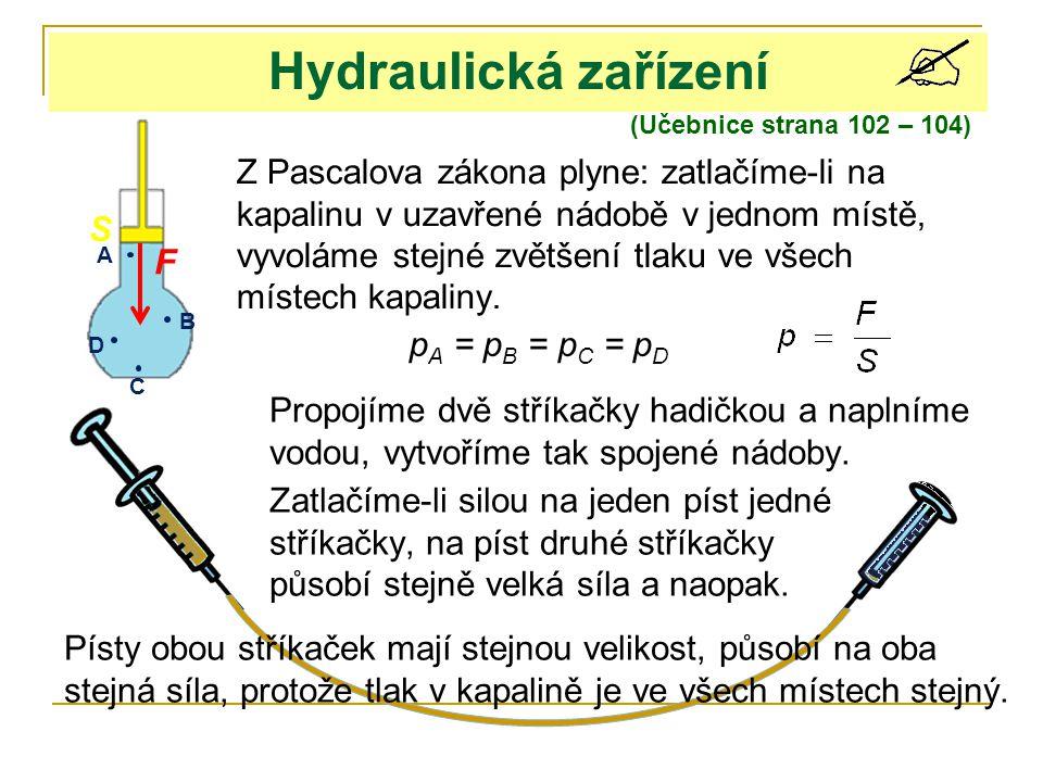 Hydraulická zařízení (Učebnice strana 102 – 104)