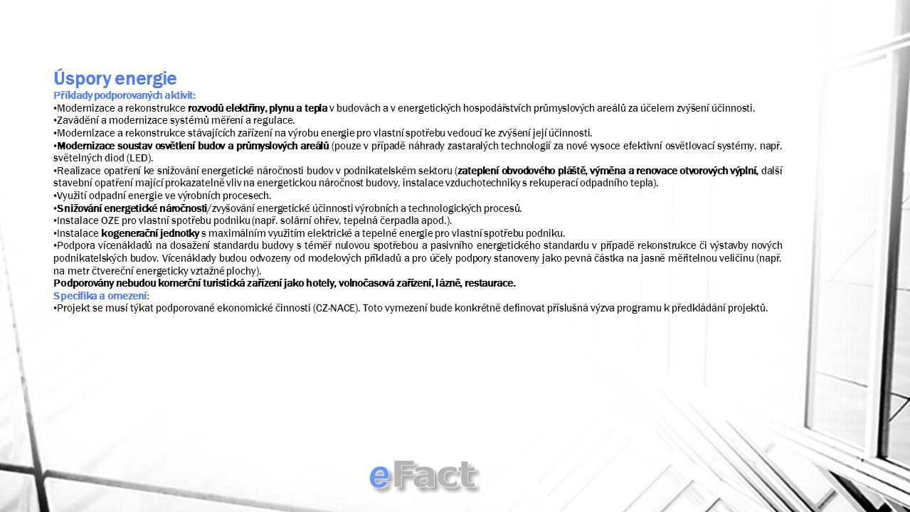 Úspory energie Příklady podporovaných aktivit: