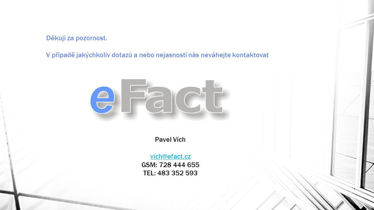 Děkuji za pozornost. V případě jakýchkoliv dotazů a nebo nejasností nás neváhejte kontaktovat. Pavel Vích.