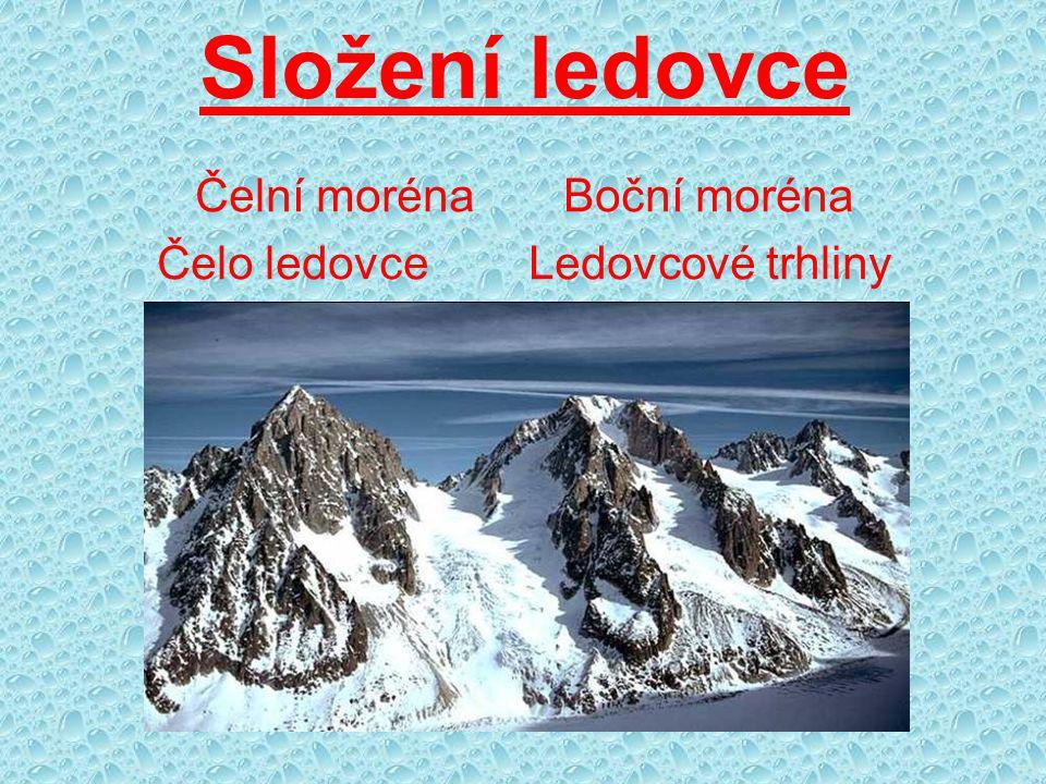 Složení ledovce Čelní moréna Boční moréna