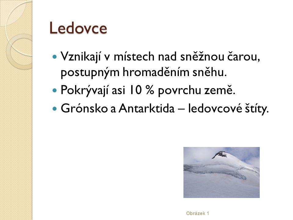 Ledovce Vznikají v místech nad sněžnou čarou, postupným hromaděním sněhu. Pokrývají asi 10 % povrchu země.