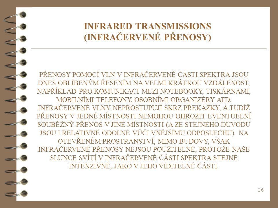 INFRARED TRANSMISSIONS (INFRAČERVENÉ PŘENOSY)