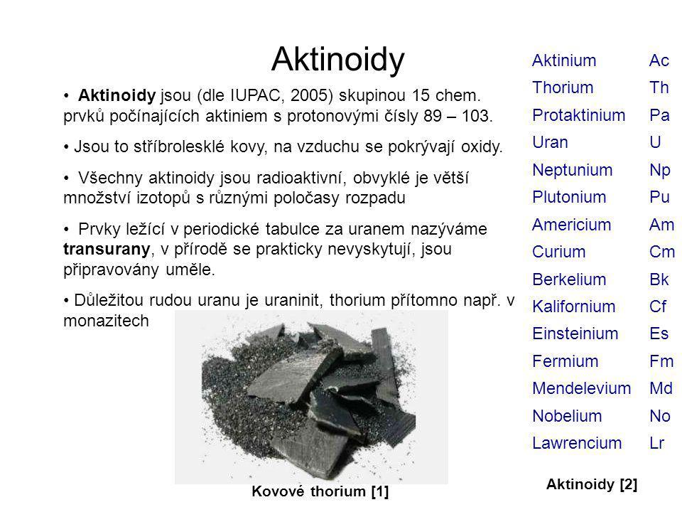 Aktinoidy Aktinium Ac Thorium Th Protaktinium Pa Uran U Neptunium Np