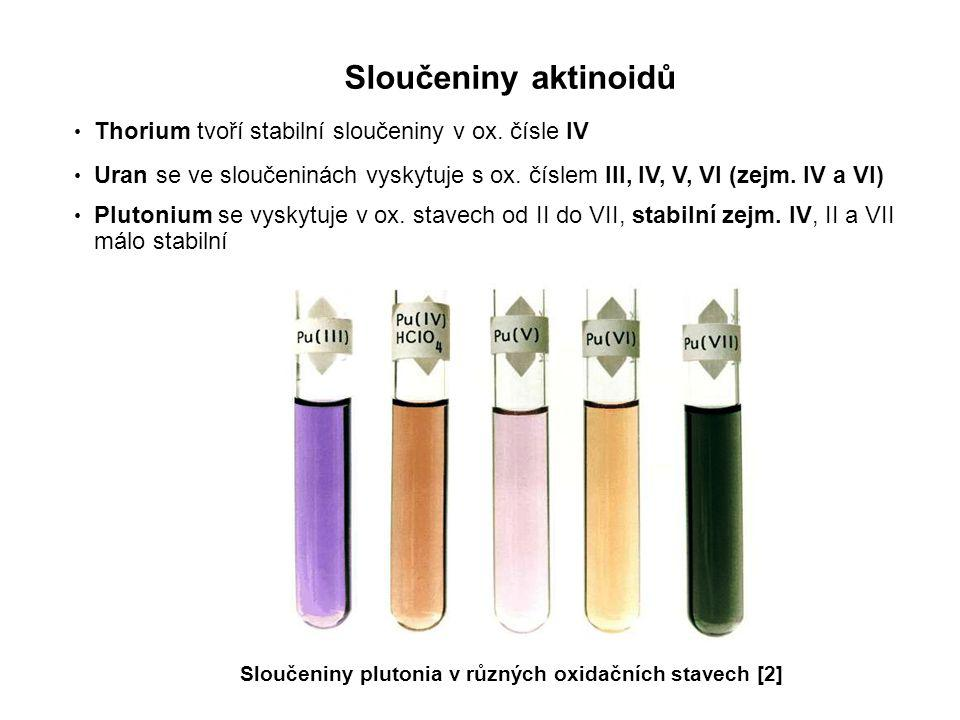 Sloučeniny aktinoidů Thorium tvoří stabilní sloučeniny v ox. čísle IV