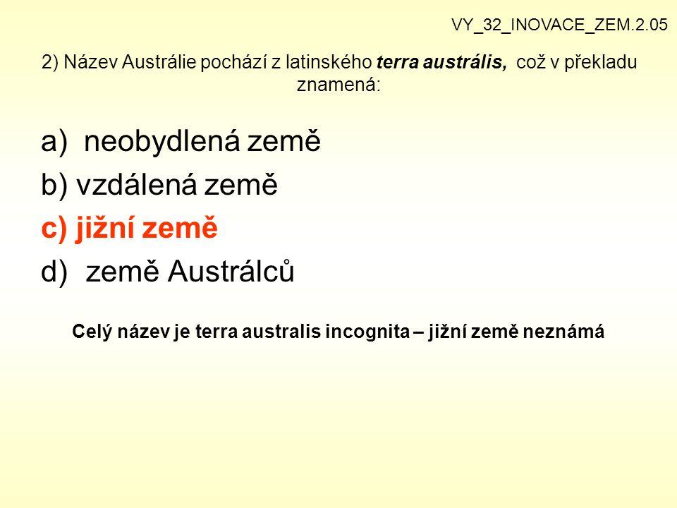 Celý název je terra australis incognita – jižní země neznámá