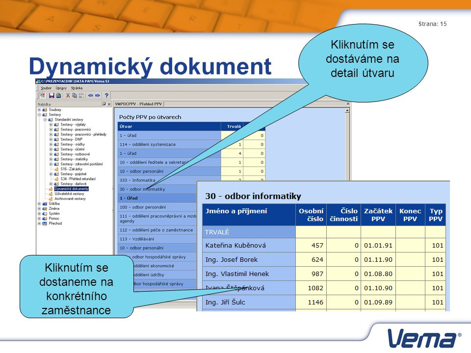 Dynamický dokument Kliknutím se dostáváme na detail útvaru