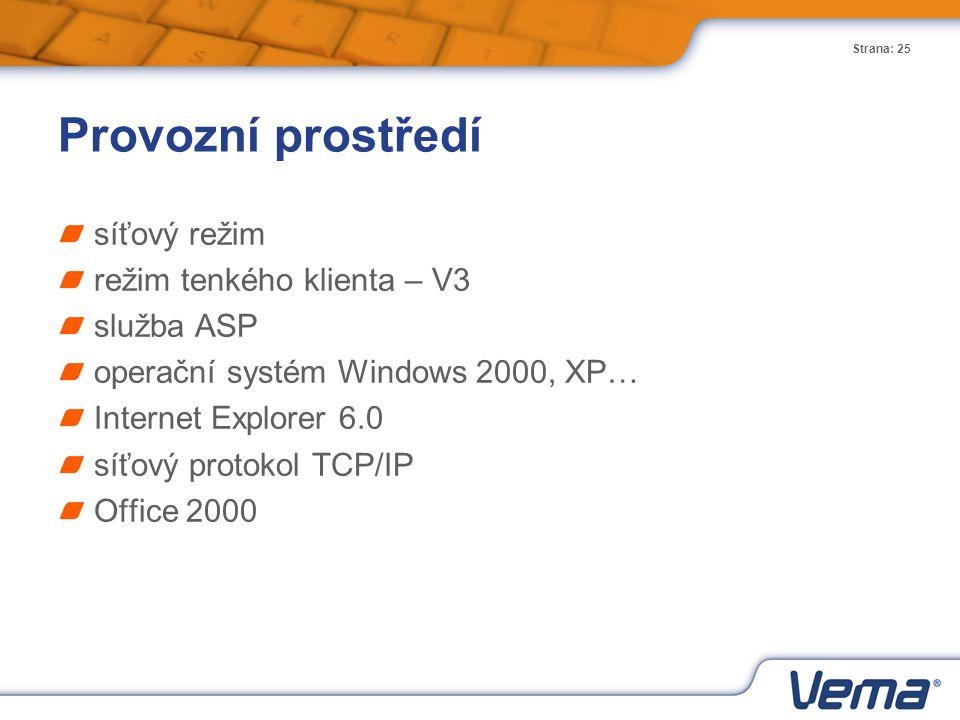 Provozní prostředí síťový režim režim tenkého klienta – V3 služba ASP