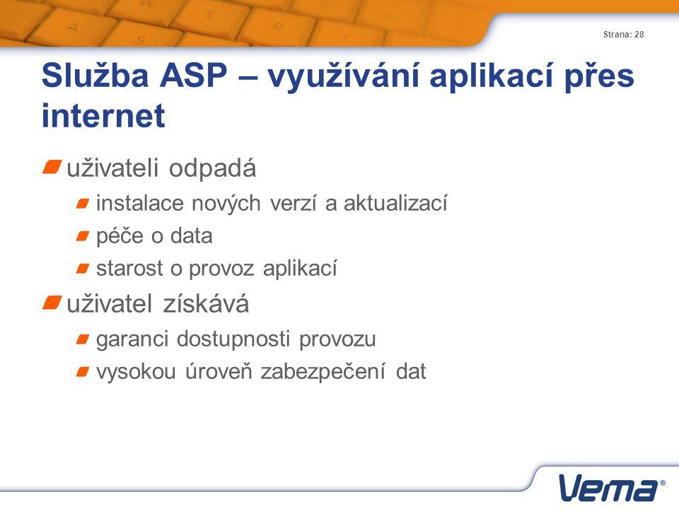 Služba ASP – využívání aplikací přes internet
