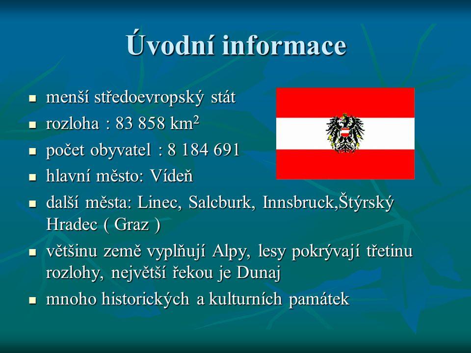 Úvodní informace menší středoevropský stát rozloha : 83 858 km2