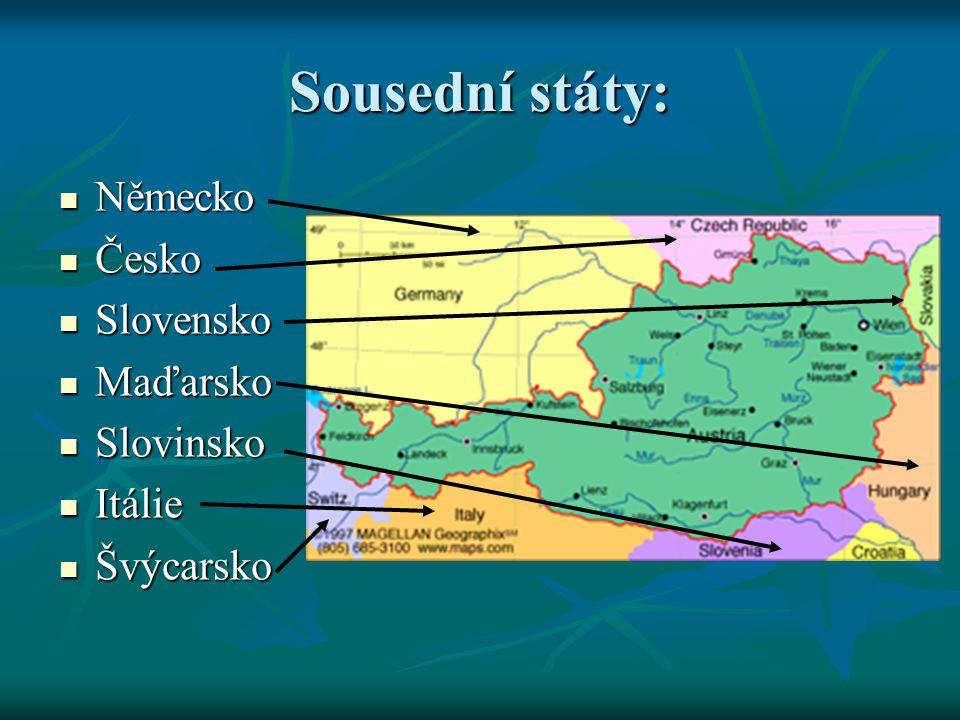 Sousední státy: Německo Česko Slovensko Maďarsko Slovinsko Itálie
