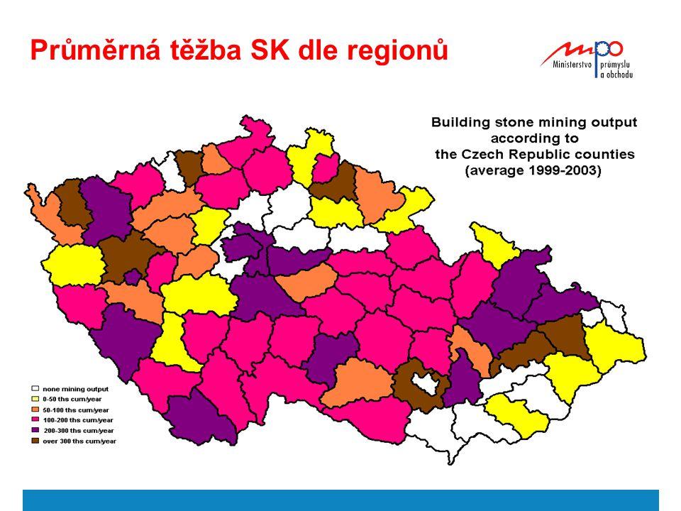 Průměrná těžba SK dle regionů