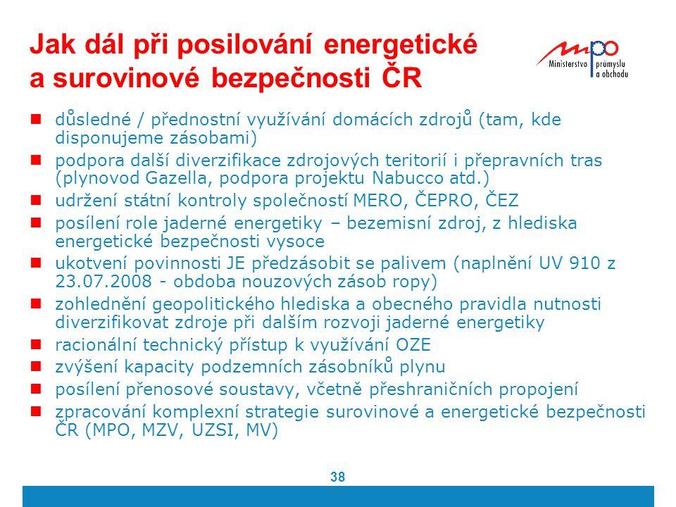 Jak dál při posilování energetické a surovinové bezpečnosti ČR