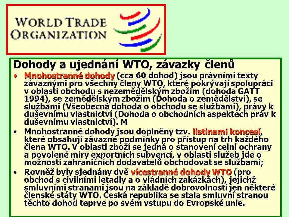 Dohody a ujednání WTO, závazky členů