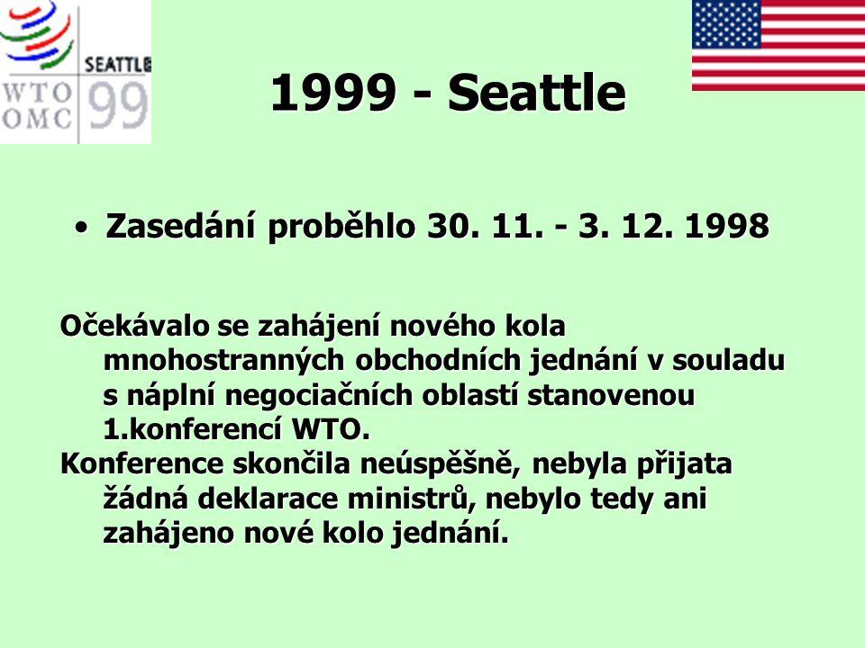 1999 - Seattle Zasedání proběhlo 30. 11. - 3. 12. 1998