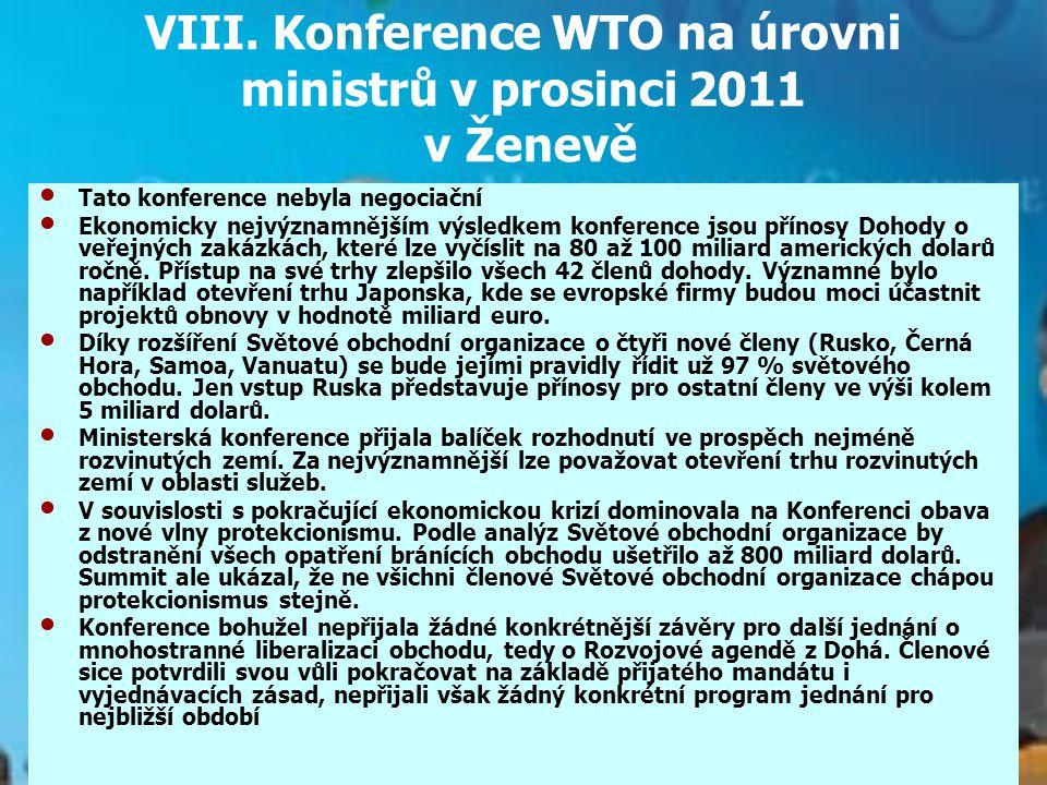 VIII. Konference WTO na úrovni ministrů v prosinci 2011 v Ženevě