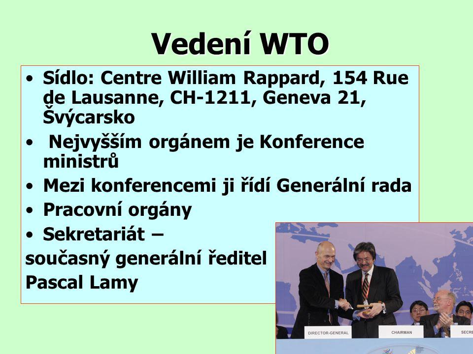 Vedení WTO Sídlo: Centre William Rappard, 154 Rue de Lausanne, CH-1211, Geneva 21, Švýcarsko. Nejvyšším orgánem je Konference ministrů.
