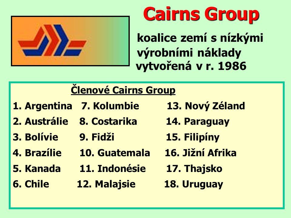 Cairns Group koalice zemí s nízkými. výrobními náklady. vytvořená v r