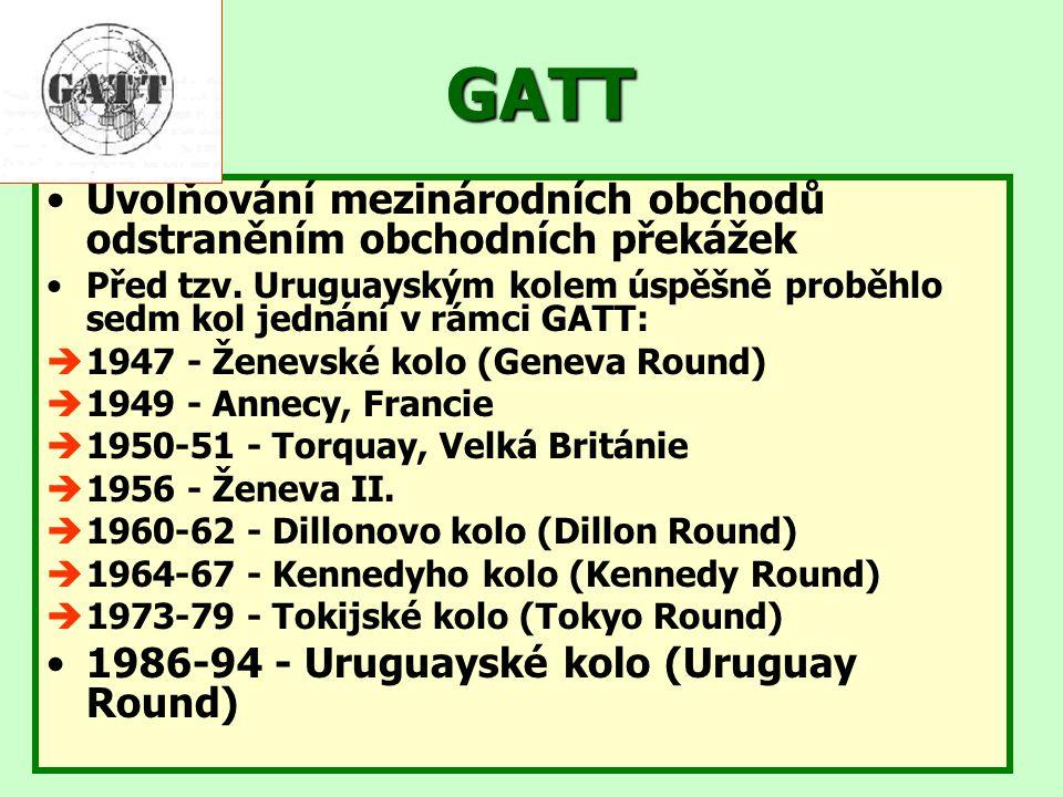 GATT Uvolňování mezinárodních obchodů odstraněním obchodních překážek