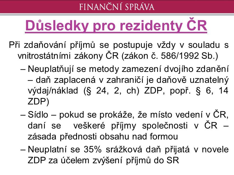 Důsledky pro rezidenty ČR