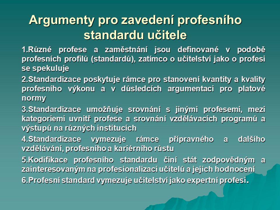 Argumenty pro zavedení profesního standardu učitele