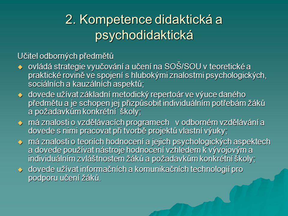 2. Kompetence didaktická a psychodidaktická