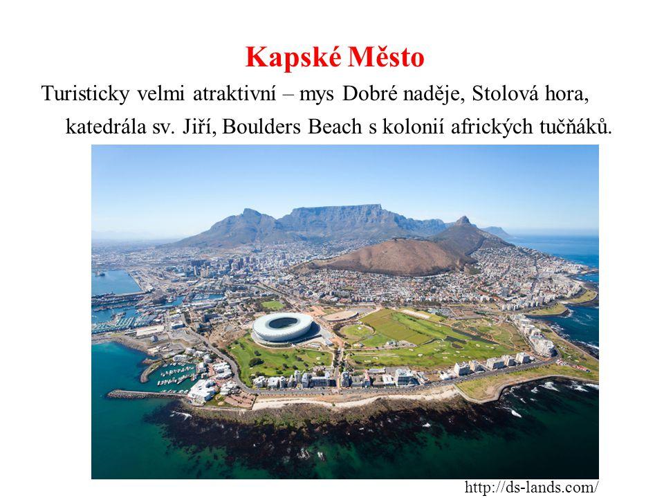 Kapské Město Turisticky velmi atraktivní – mys Dobré naděje, Stolová hora, katedrála sv. Jiří, Boulders Beach s kolonií afrických tučňáků.