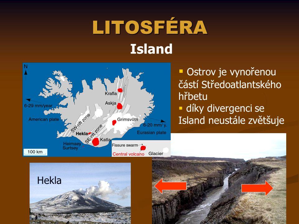 LITOSFÉRA Island Ostrov je vynořenou částí Středoatlantského hřbetu