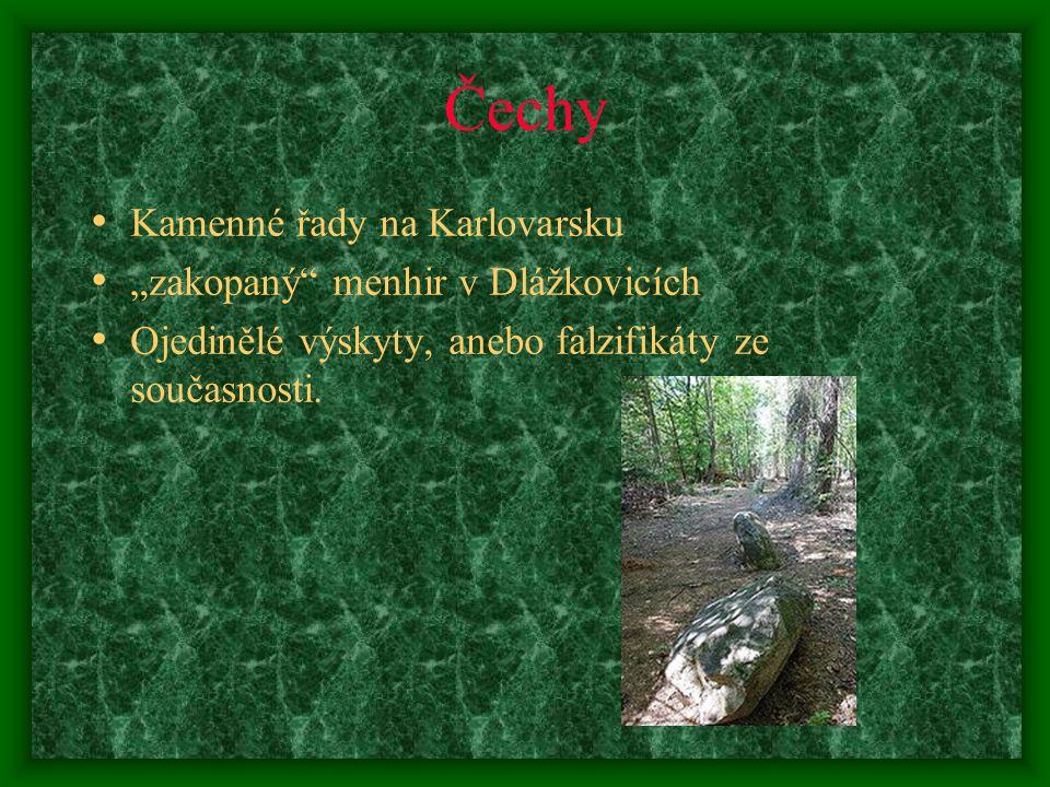 """Čechy Kamenné řady na Karlovarsku """"zakopaný menhir v Dlážkovicích"""